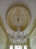 Ornate Ceiling Fixture, Plaster Ceiling Rose, Plaster Ceiling Dome Perth, Yellow Paint, Gold Paint, Painter Mt Lawley WA