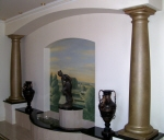 Painted Mural Perth, Metallic Gold Painted Columns, Wall Mural, Italian Countryside Mural, Painter City Beach