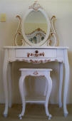 Shading of Gold Leaf on White Painted Dressing Table & Stool