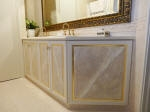 Faux Marble Painted Panels with Aged Gold Border to Bathroom