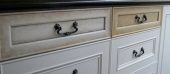 Drawers - showing variation of painted aged finishes with gold highlighting