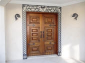Exterior Wall Lamps, Decorative Wrought Iron, Handles & Hinges all in Three Colour Paint Finish, Exterior Side of Front Door has been aged