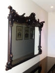 18th Century French Mirror painted black with Crackle Finish & Gold Highlights