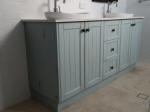 Pale blue toned Distressed Vanity Cabinet