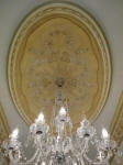 Ornate Ceiling Panel, Plaster Panel Perth, Moulded Ceiling Rose, Painted Ceiling, Painted Ceiling Panel, Crystal Chandelier