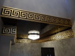 Gold leaf, Black Gloss Paint, Glossy Ceiling, Egyptian Plaster Cornice, Gold Egyptian Painting, Moulded Cornice, Plaster Cornice