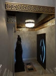 Plaster Cornice, Gold painted Cornice, Black Gloss Paint, Entrance Foyer, Crystal Lightshade, Creative Colours Mosman Park