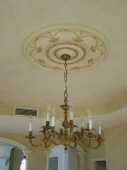 French Wash Paint Finish, Decorative Ceiling Rose, Plaster Ceiling Rose, Gold Leaf, Liquid Gold, Creative Colours Painting